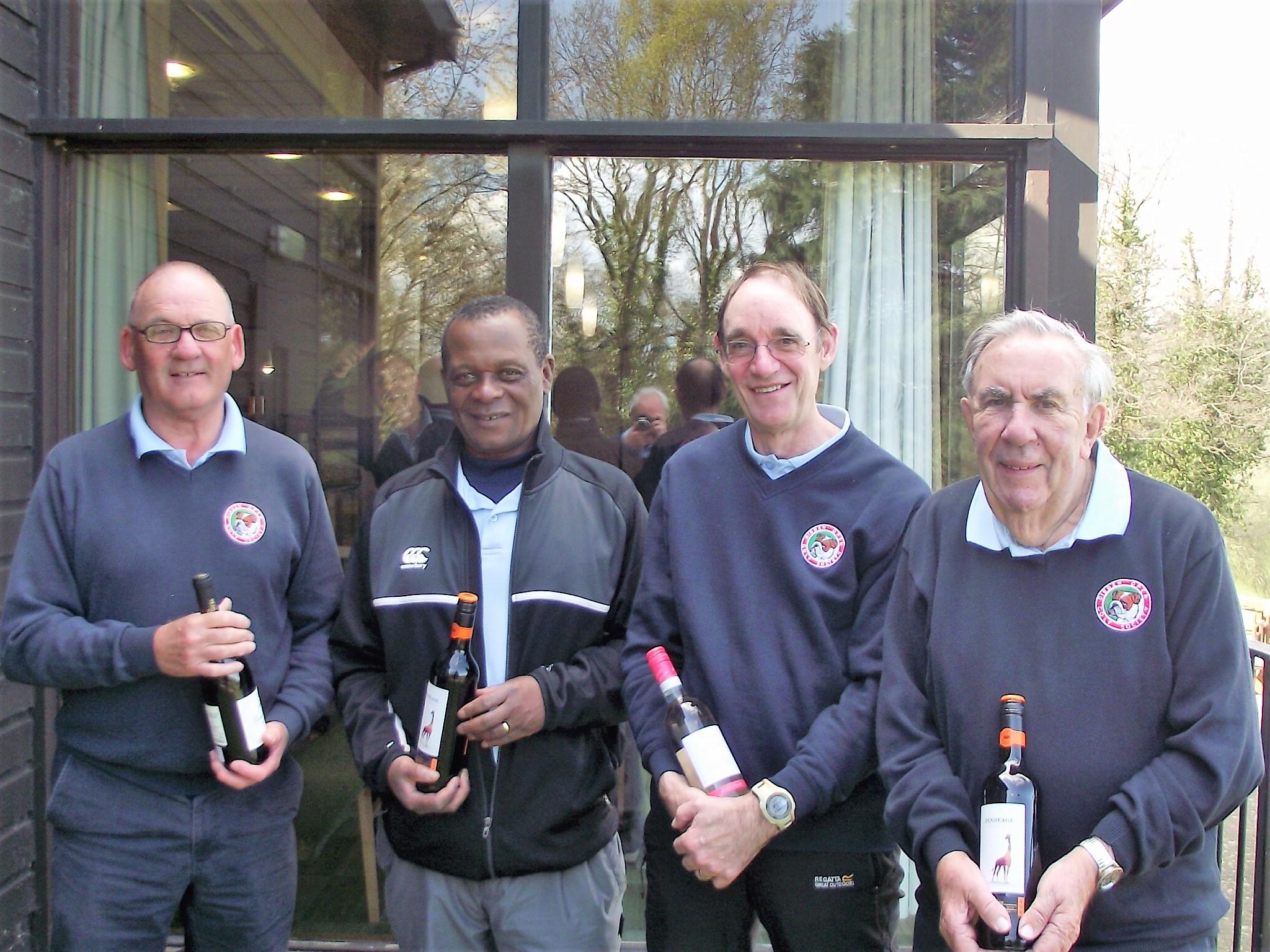 2 April: Wine Winners L to R Keith Maton P/A 15th; Elijha Nkomo N/P 2nd; Roger James N/P 11th; Roy Cooper N/P 4th (9 hole)