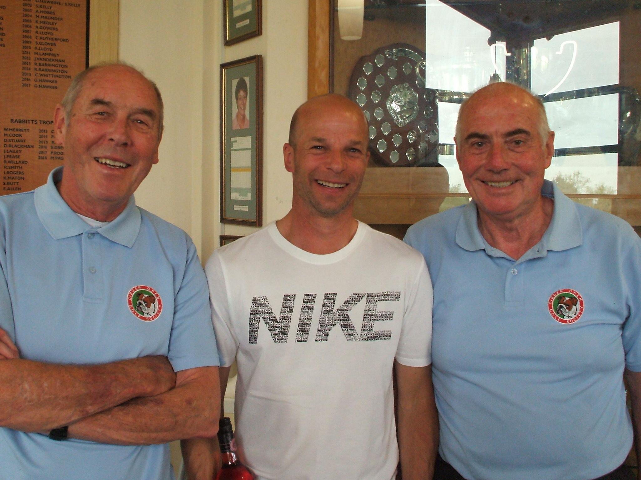 23 April: 18 hole winners L to R Ken Barge; Paul Pallaster; Ian Cameron