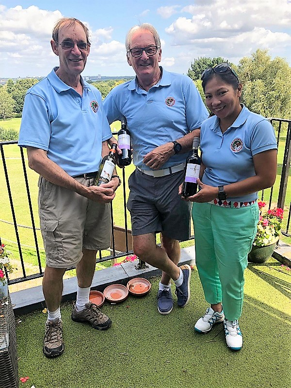 August 20:  Highest Stableford: 20 Aug: R James 44 points on left. Wine winners L to R :- R James - P Rogers - Jo Renyard