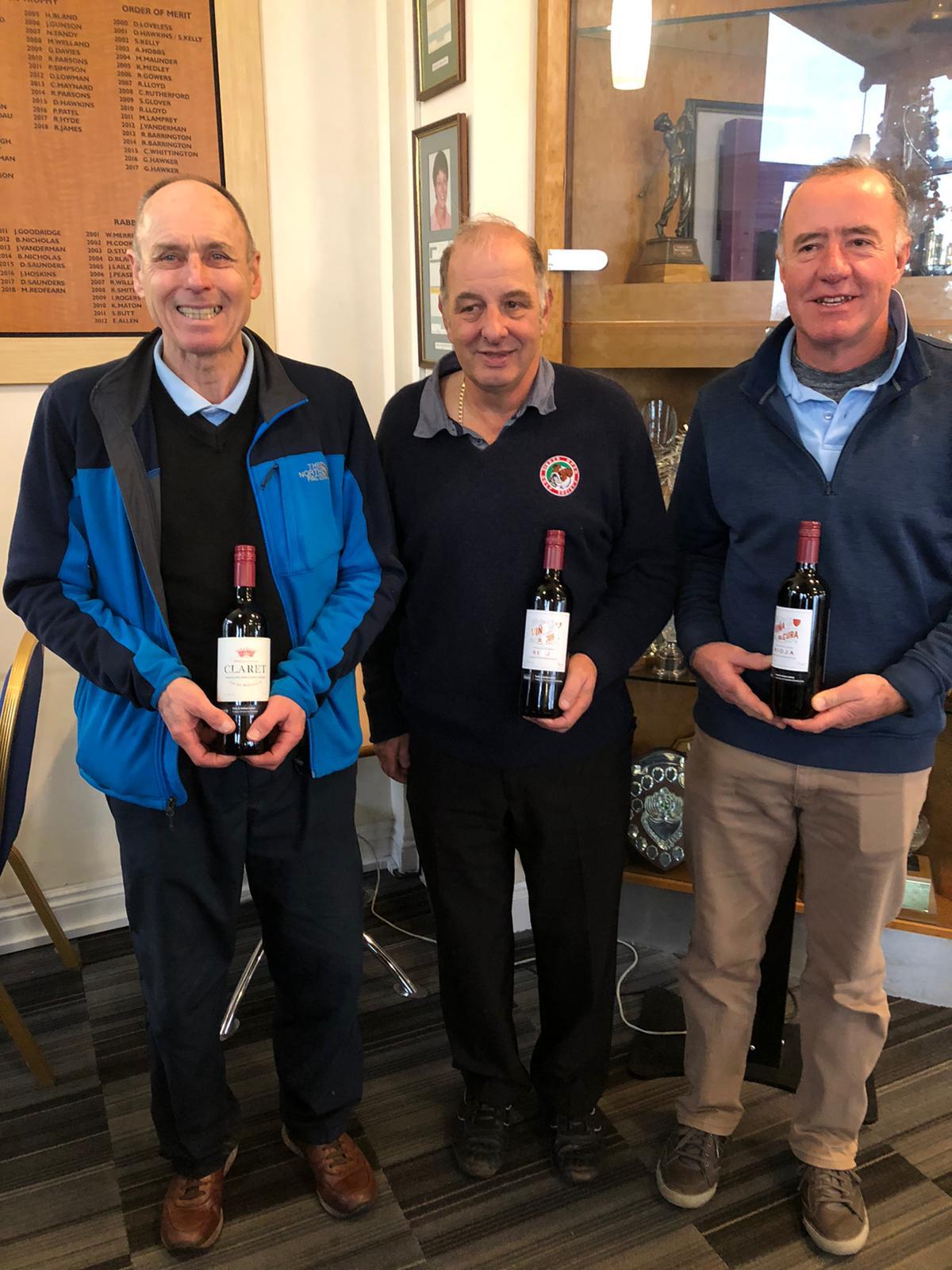 10 December Wine Winners: L to R:- P Wastell - C Viney - D McManus