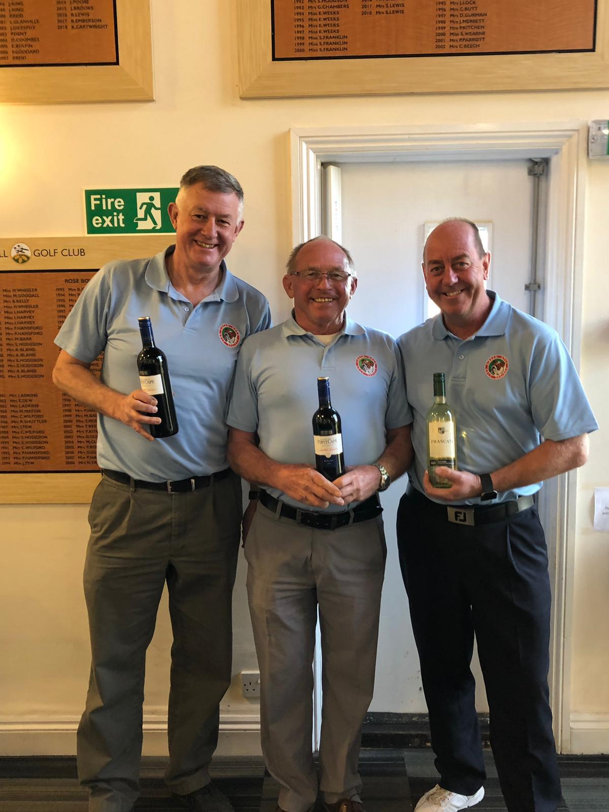 26 Feb. Wine winners L to R:- L Jones - C Peall - J Slade
