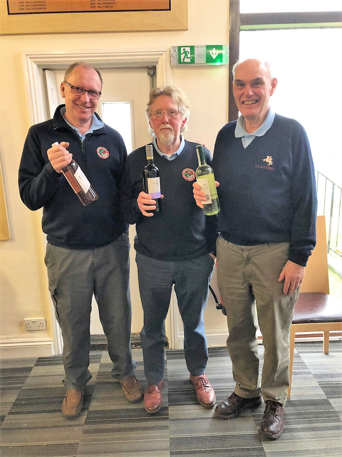 29 Jan. Wine for the Highest Score Consolation Prize. L - R: A Turnpenny; P Huxley; B Coombs