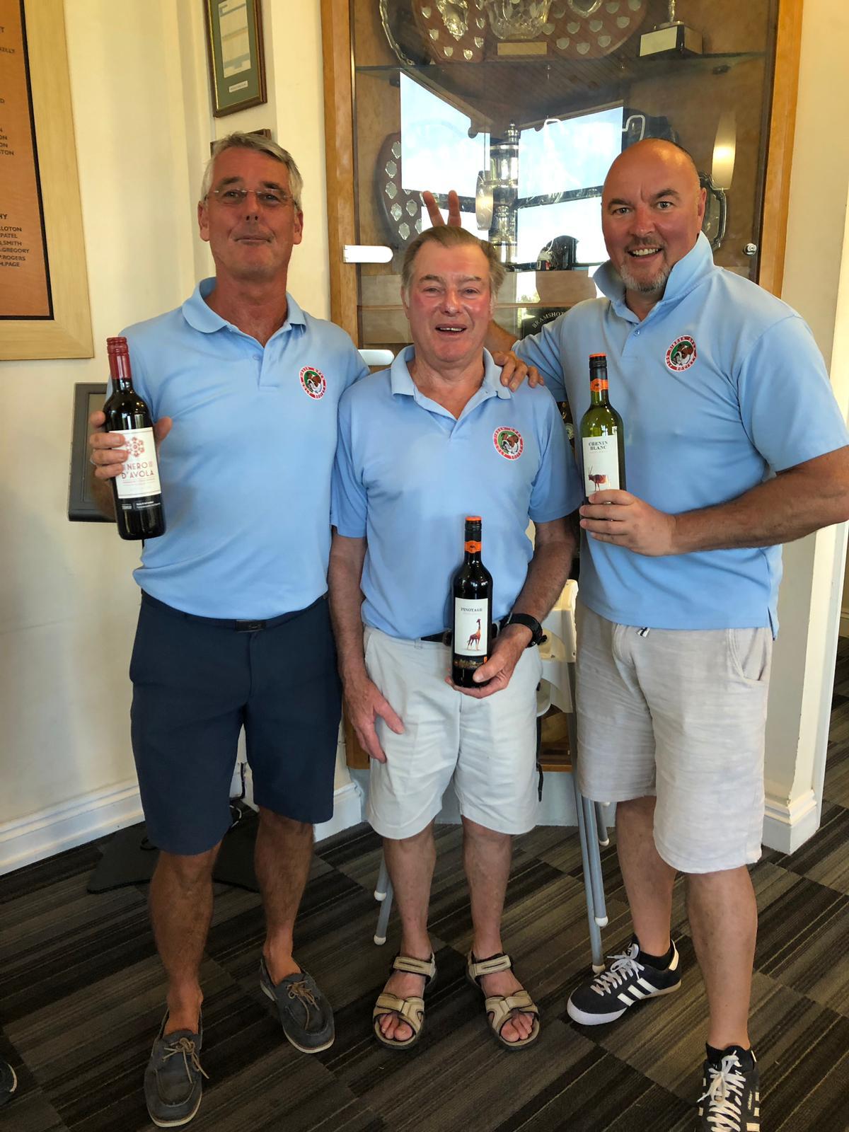 16 July:Wine winners L to R :- P Bell - Peter Mortimer - B Renyard