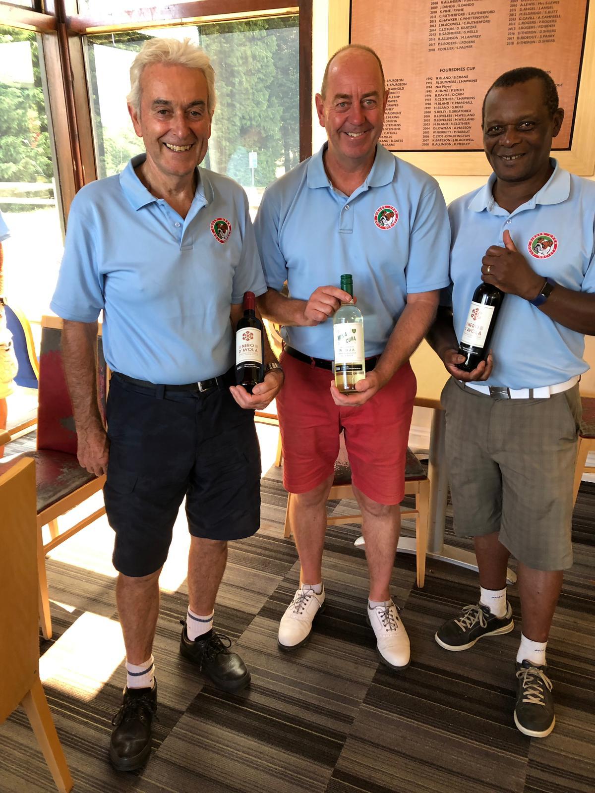 23 July: Wine winners L to R :- O McCann - J Slade - E Nkomo