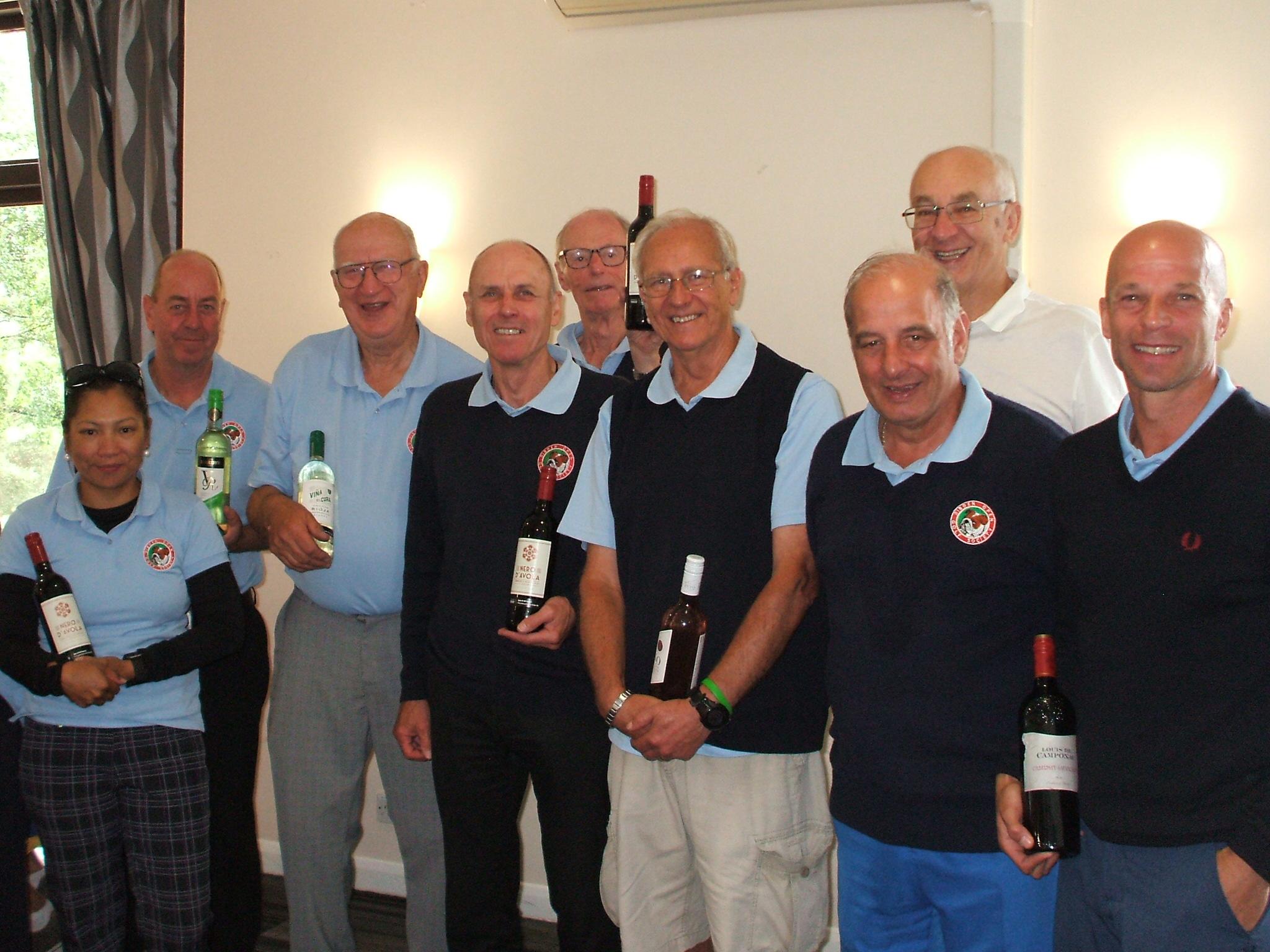 18 June: Wine Winners  l to r Jo Renyard; John Slade; Bob Phillips; Paul Wastell; Peter Dent; Ron Gooding; Colin Viney; Brian Cox; Paul Pallister