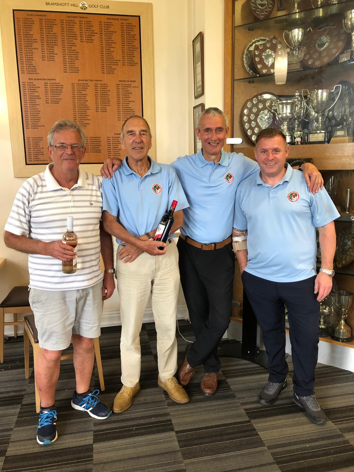 25 June 2019: L to R:- M Cook- J Poore wine winners / 2s Comp- P Barnett- Paul Mortimer