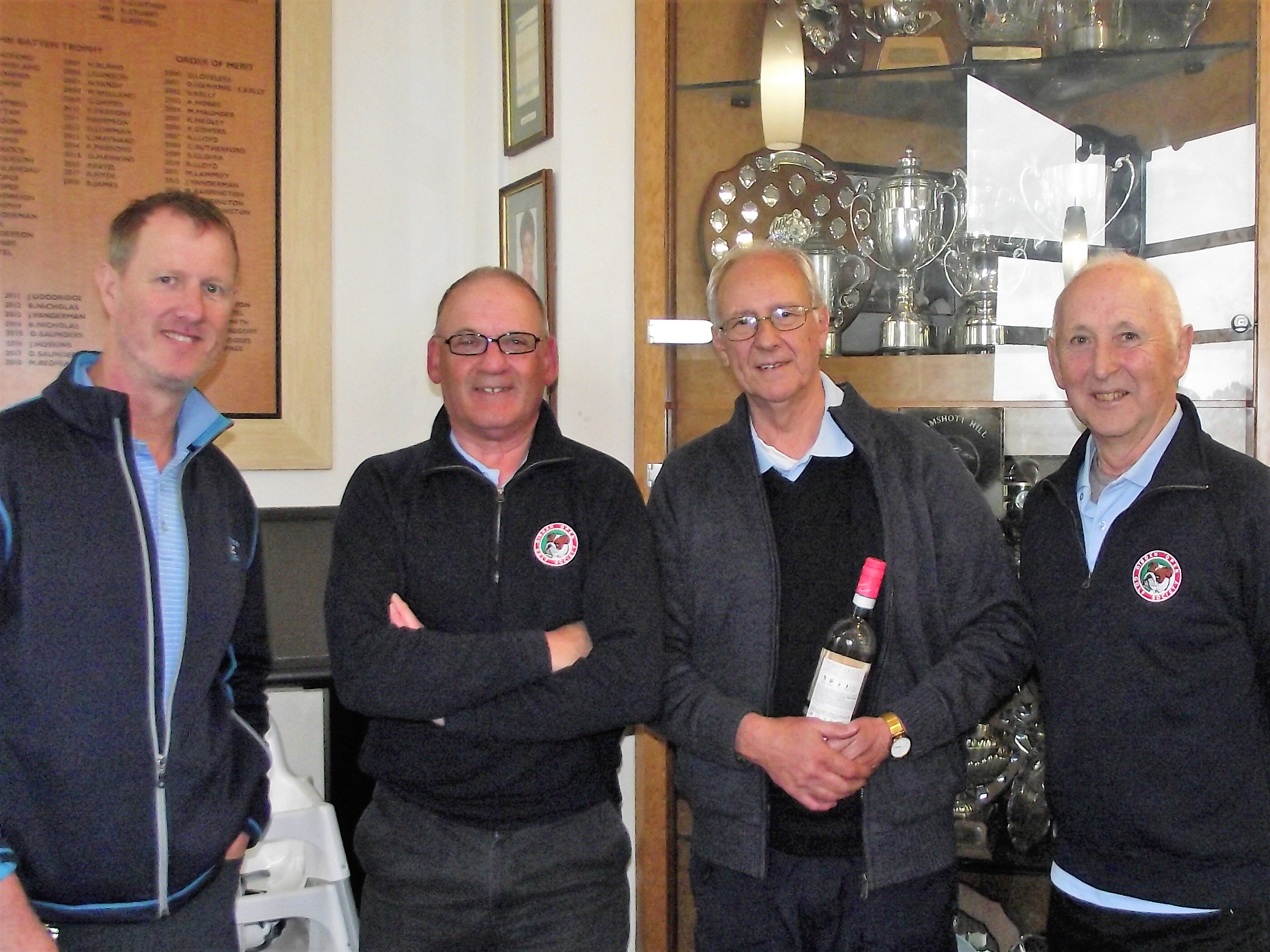 5 Mar.  Stableford Winners:  l to r Nigel Union 5th; Keith Maton 1st; Ron Gooding 2nd; Dave Wilkins 3rd