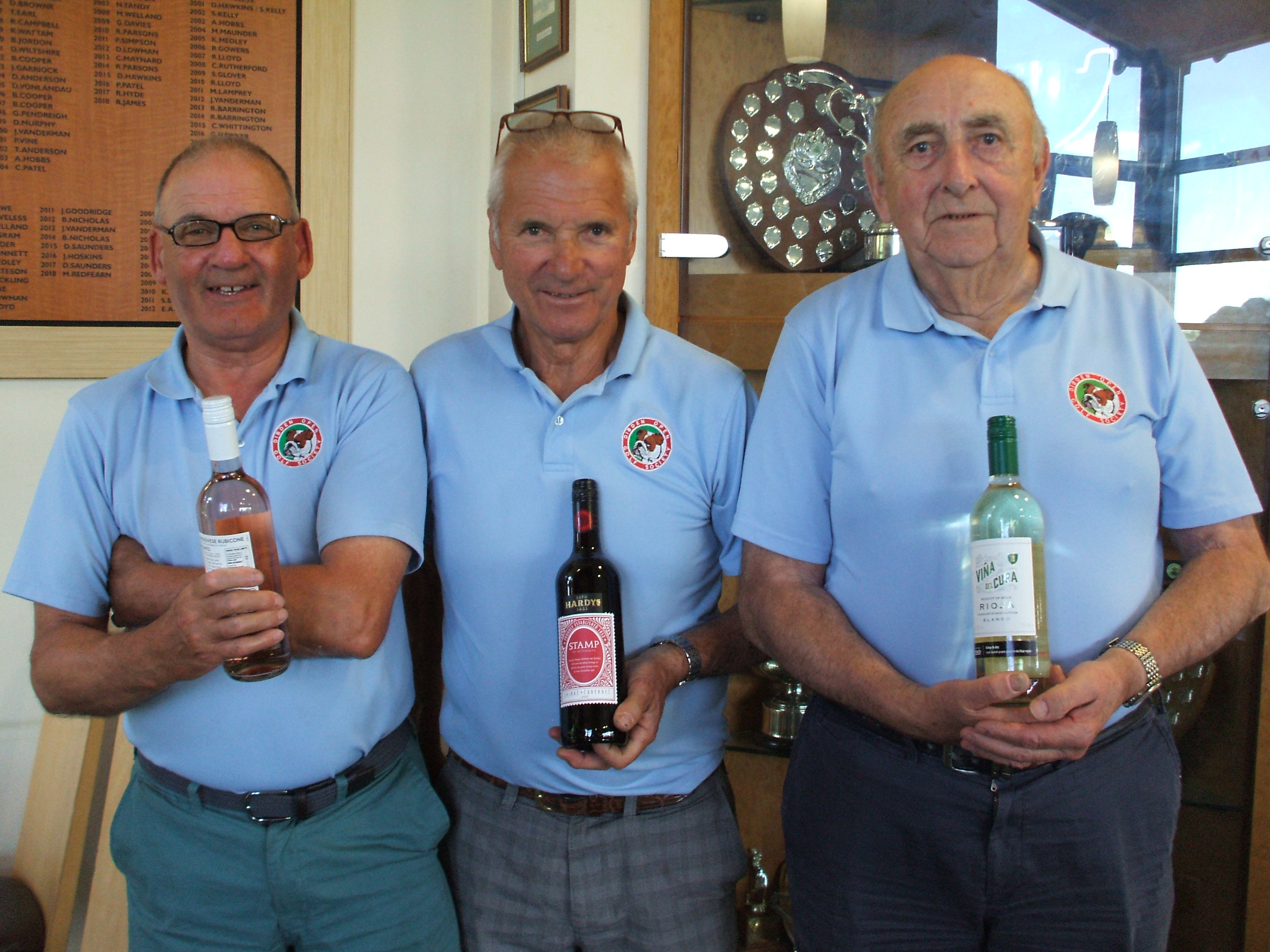 21 May: Wine Winners l to r Keith Maton; Dave Lowman; Pete Blackwood