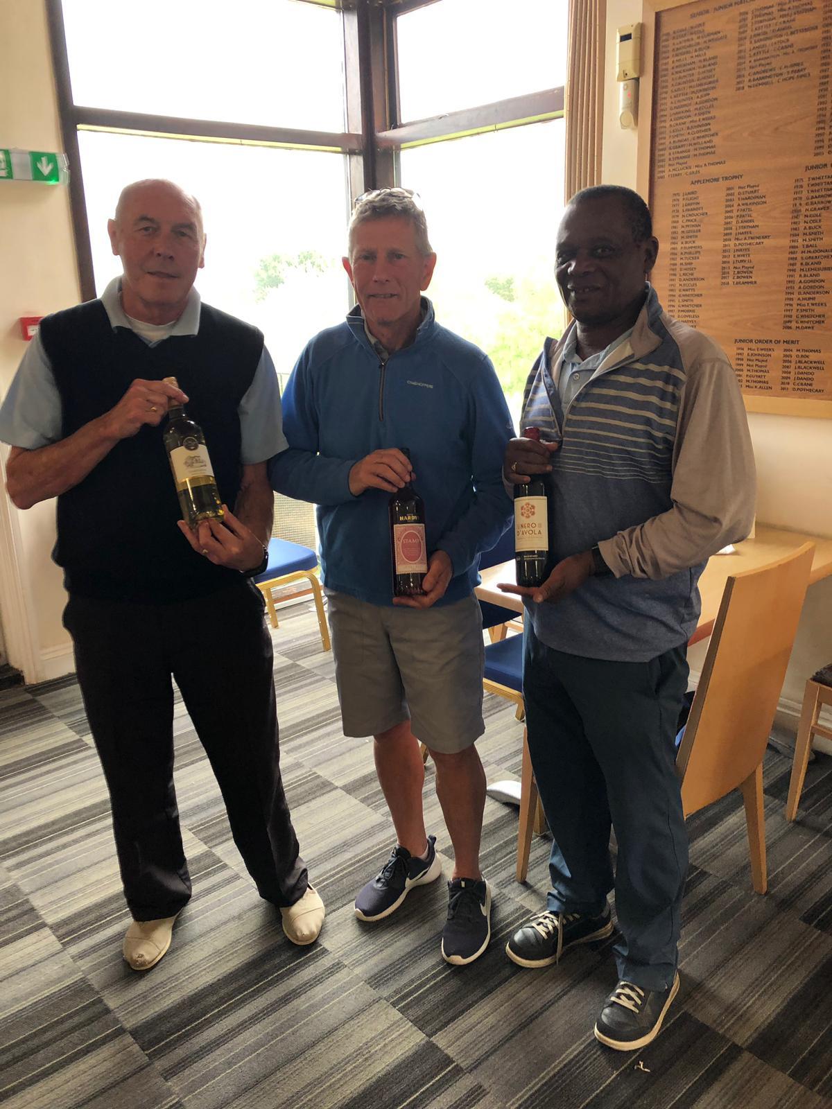 7 May: Wine Winners L - R: K Barge; M Eve; E Nkomo