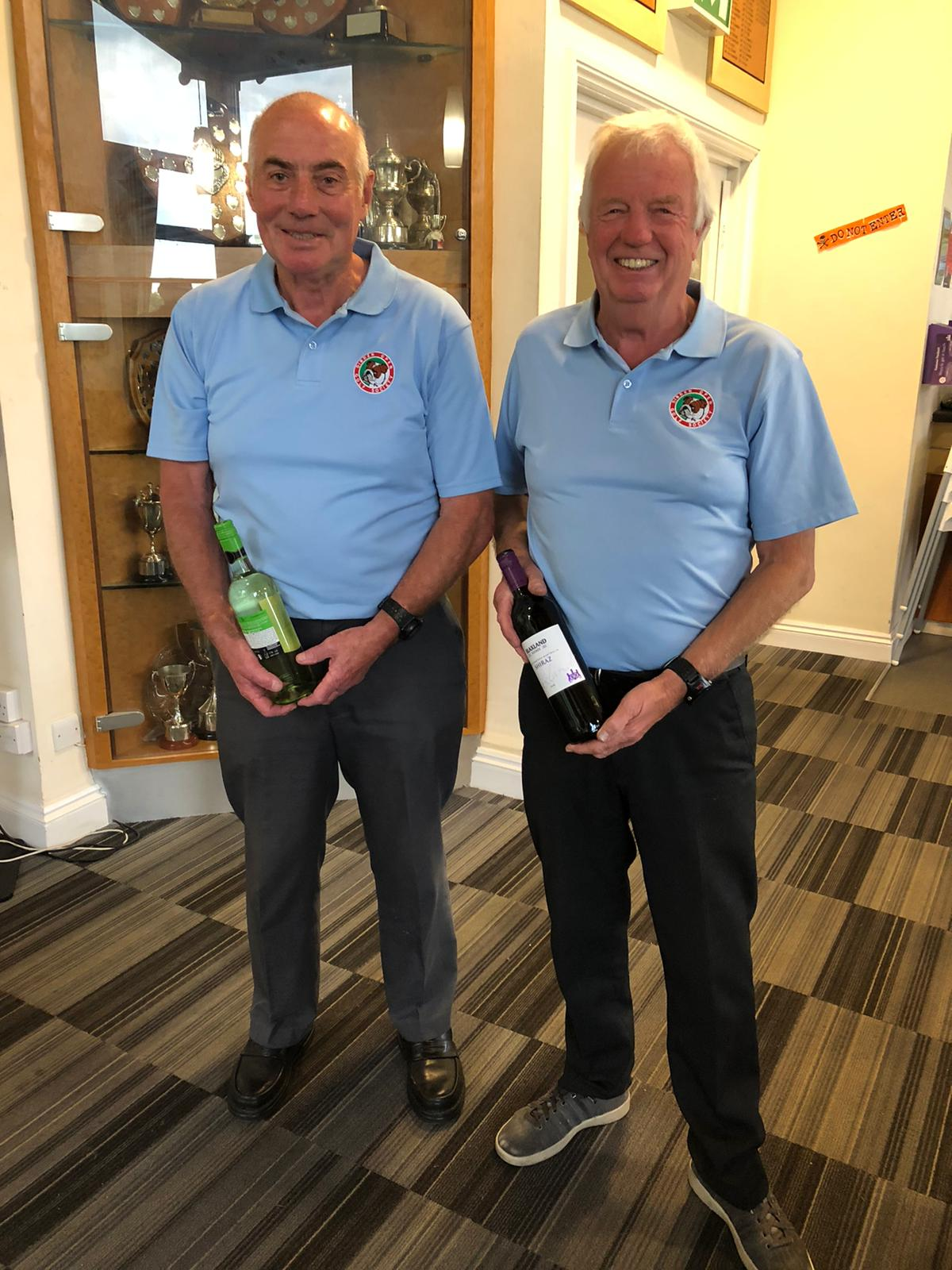 Wine winners 22 October L to R:- I Cameron - P Dunn who was also highest Stableford.