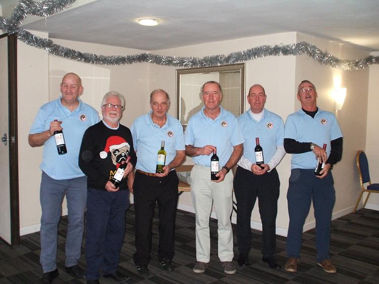 Wine Winners L to R Andy McCaffrey; Steve Hawks; Colin Viney; Dave McManus; John Slade; Paul Bell